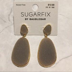 BaubleBar Jewelry - SUGARFIX by BaubleBar Gray Druzy Drop Earrings